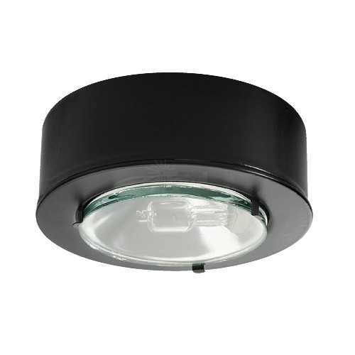 Halogen Egressed Glass Lens Black Puck Light 12volt At 20watts For Low Voltag