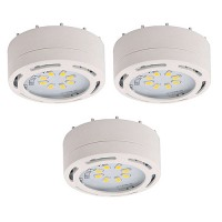 LED white 3 puck light kit 120volt recessed or surface mount under cabinet lighting dimmable linkable warm white