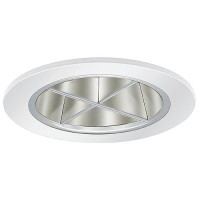 "4"" Low voltage recessed lighting chrome reflector white crossblade trim"
