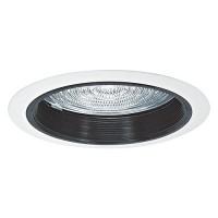 "6"" Recessed lighting A19 fresnel lens black baffle white shower trim"