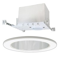 "4"" Low voltage recessed new construction chrome reflector white trim kit"