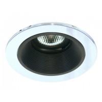"4"" Low voltage recessed lighting black baffle chrome trim"