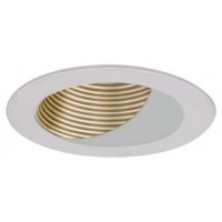 "4"" Recessed lighting satin baffle white wall wash trim"