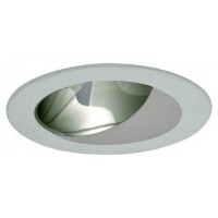 "4"" Recessed lighting compact fluorescent (CFL) clear chrome reflector white wall wash trim"