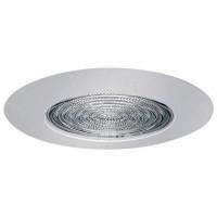 """4"""" Recessed lighting glass fresnel lens white shower trim"""