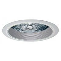 "5"" Recessed compact fluorescent white baffle white trim with fresnel lens"