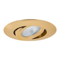 "5"" Recessed lighting polished brass adjustable gimbal trim"