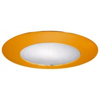 "6"" Recessed lighting albalite lens polished brass shower trim"