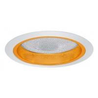 "6"" Recessed lighting albalite lens specular gold reflector white trim"
