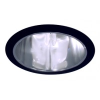"6"" Recessed lighting compact fluorescent specular clear chrome cone reflector black trim"
