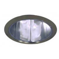 """6"""" Recessed lighting compact fluorescent specular clear chrome cone reflector polished brass trim"""