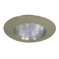 "6"" Recessed lighting compact fluorescent fresnel glass lens polished brass shower trim"