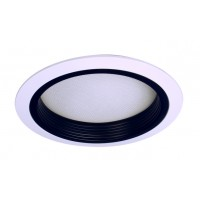 "6"" Recessed lighting compact fluorescent albalite glass lens black baffle white shower trim"