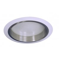 "6"" Recessed lighting compact fluorescent albalite glass lens satin baffle white shower trim"