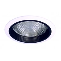 "6"" Recessed lighting compact fluorescent fresnel glass lens black baffle white shower trim"