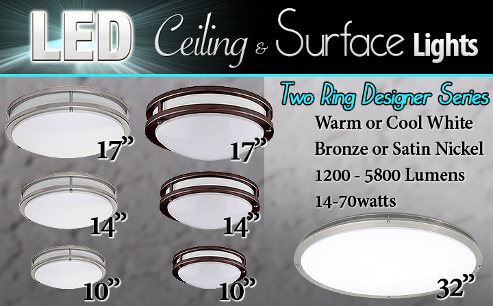 LED Two Ring Ceiling Surface Lights